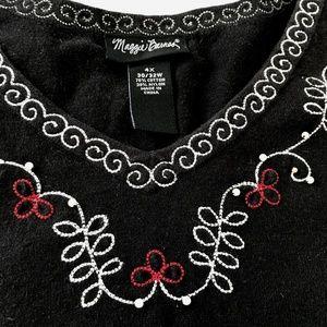 Maggie Barnes Size 4X Cami Tank Black Embroidered